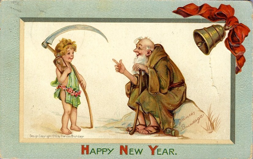 Baby New Year & the Old Year illustrated on a postcard
